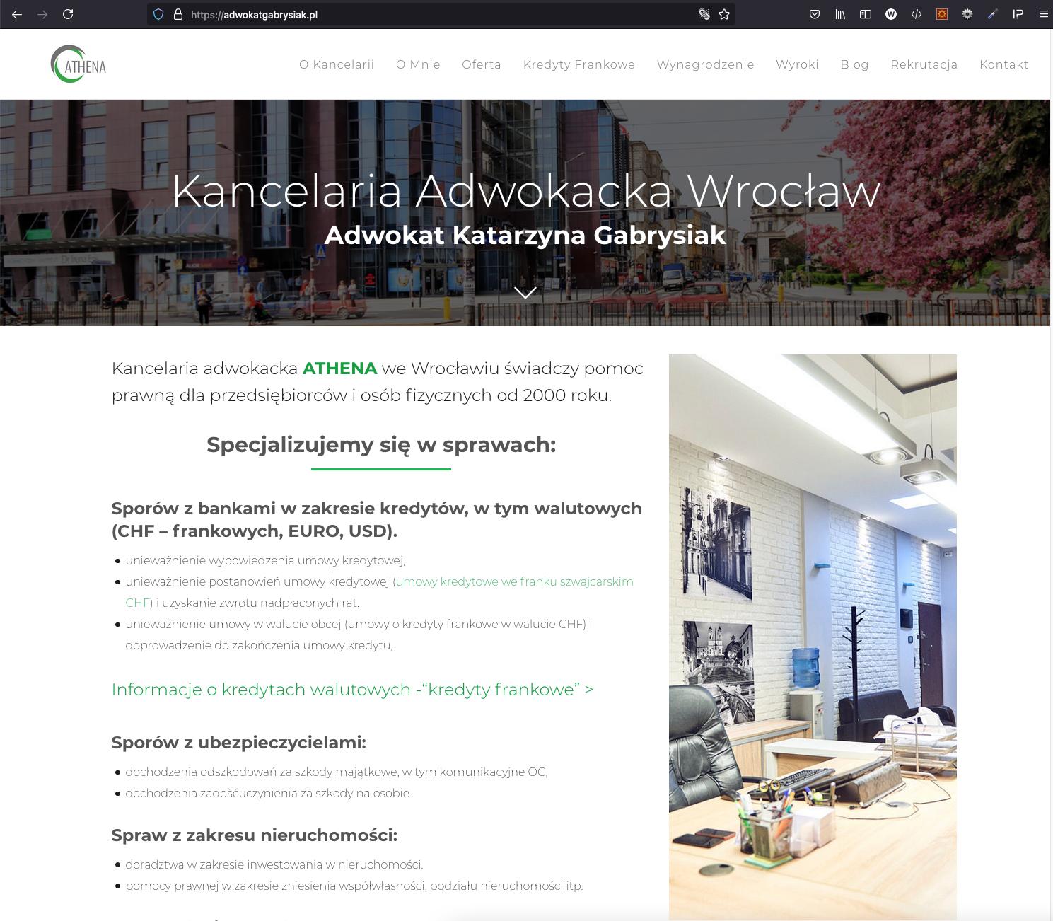 Adwokat we Wrocławiu Katarzyna Gabrysiak - zmiana adresów strony www oraz email.